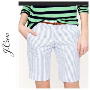 J. CREW SEERSUCKER STRIPED BERMUDA SHORTS SIZE 2